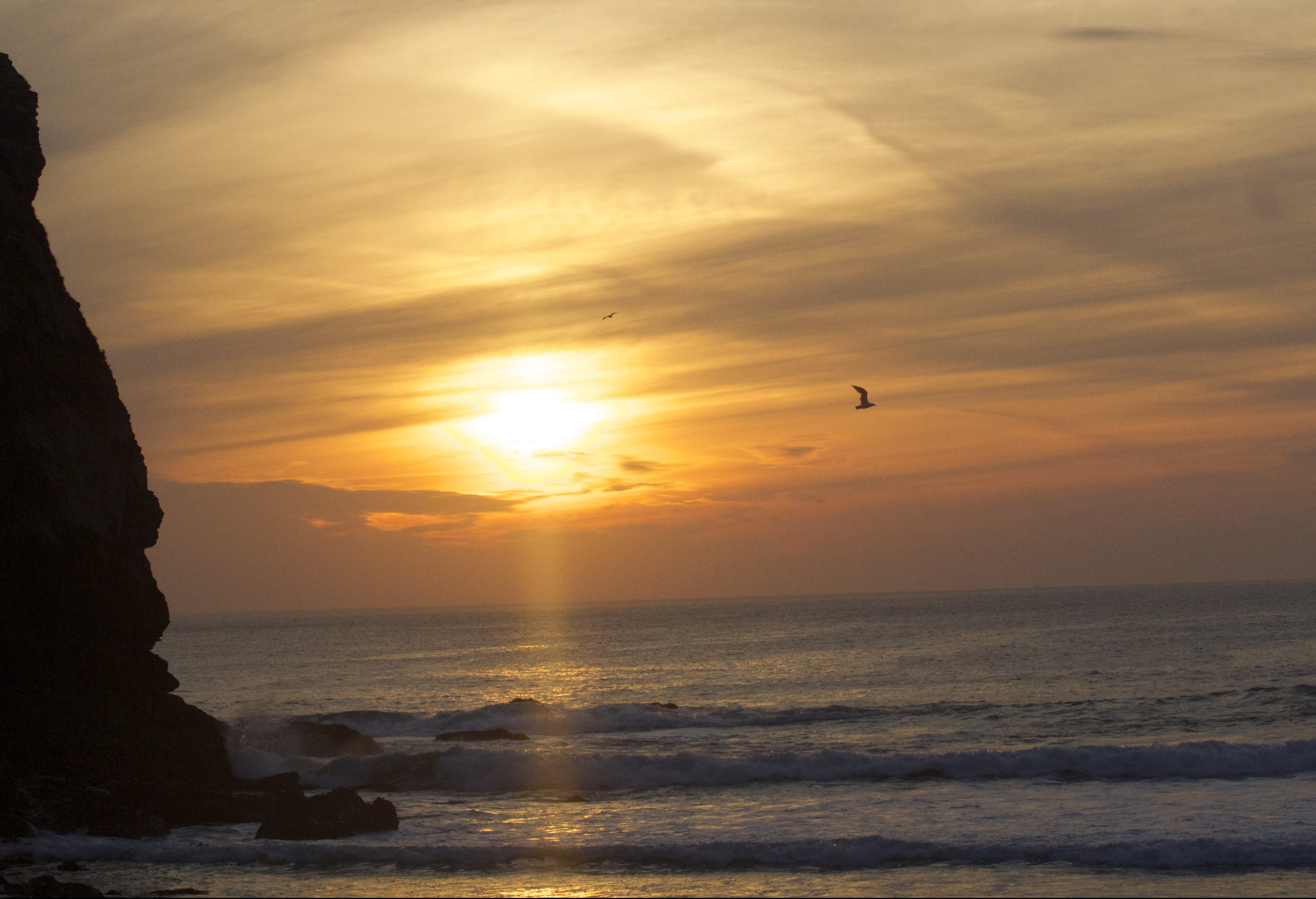 Beautiful sunset at Fistral beach, with the surf lashing the shores and the silhouette of a seagull flying by. A perfect beach break in Newquay, Cornwall.